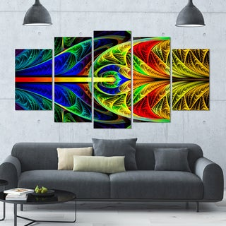 Designart 'Colorful Stained Glass Texture' Multipanel Canvas Art Print - 60x32 5 Panels