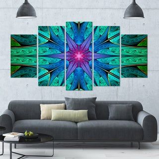 Designart 'Turquoise Star Fractal Stained Glass' Glossy Canvas Art Print - 60x32 5 Panels