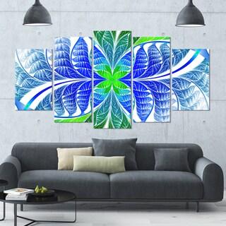 Designart 'Green Blue Fractal Glass Texture' Glossy Canvas Art Print - 60x32 5 Panels