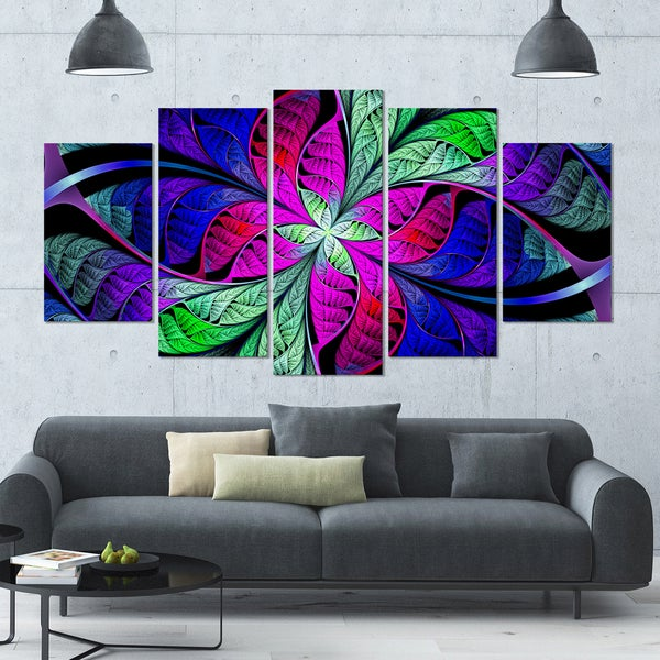 Designart 'Multi-Color Stained Glass Texture' Glossy Canvas Art Print - 60x32 5 Panels