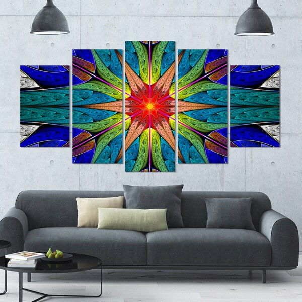 Designart 'Budding Fractal Colorful Flower' Glossy Canvas Art Print - 60x32 5 Panels