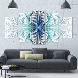 Designart 'Light Blue Stained Glass Texture' Glossy Canvas Art Print - 60x32 5 Panels