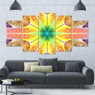Designart 'Yellow Glowing Fractal Texture' Glossy Canvas Art Print - 60x32 5 Panels