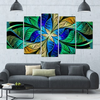 Designart 'Blue Green Fractal Flower Petals' Glossy Canvas Art Print - 60x32 5 Panels