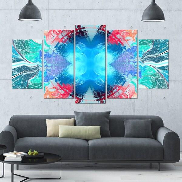 Designart 'Extraordinary Fractal Blue Texture' Glossy Canvas Art Print - 60x32 5 Panels