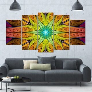 Designart 'Extraordinary Fractal Yellow Design' Glossy Canvas Art Print - 60x32 5 Panels