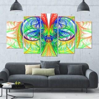 Designart 'Extraordinary Fractal Green Design' Glossy Canvas Art Print - 60x32 5 Panels