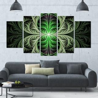 Designart 'Fabulous Green Fractal Texture' Glossy Canvas Art Print - 60x32 5 Panels