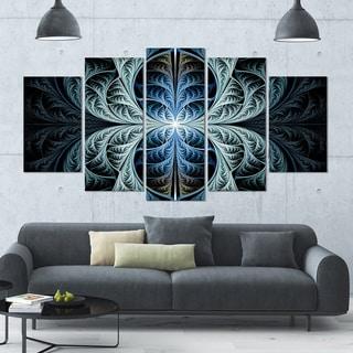 Designart 'Glowing Blue Fabulous Fractal Art' Glossy Canvas Art Print - 60x32 5 Panels