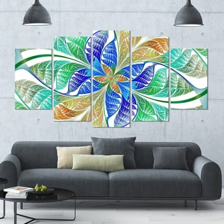 Designart 'Light Blue Fractal Stained Glass' Glossy Canvas Art Print - 60x32 5 Panels