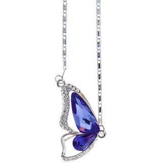 "Rhodium Plated Necklace with Butterfly Wing Design with a 16"" Extendable Chain and High Quality Purple Crystals by Matashi"
