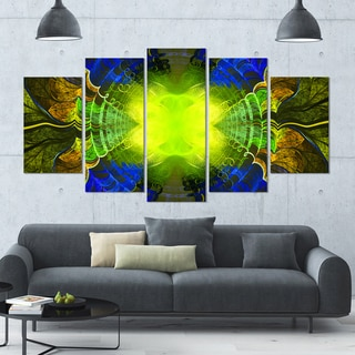 Designart 'Green Golden Fractal Stained Glass' Glossy Canvas Art Print - 60x32 5 Panels