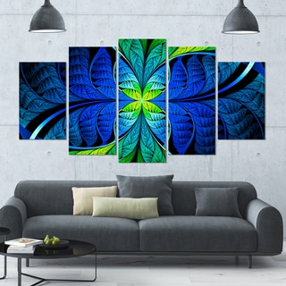 Designart 'Blue Green Fractal Stained Glass' Glossy Canvas Art Print - 60x32 5 Panels