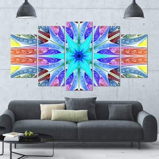 Designart 'Multi-Color Pink Fractal Stained Glass' Glossy Canvas Art Print - 60x32 5 Panels