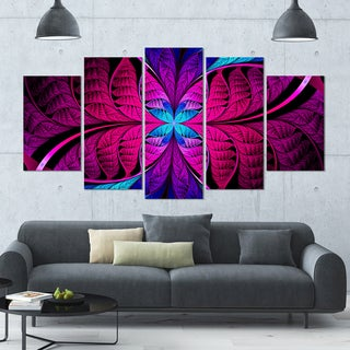 Designart 'Bright Pink Fractal Stained Glass' Glossy Canvas Art Print - 60x32 5 Panels
