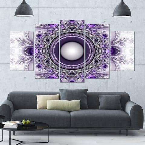 Designart 'Purple Fractal Pattern with Circles' Glossy Canvas Art Print - 60x32 5 Panels