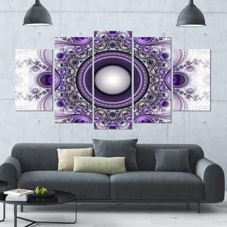 Designart 'Purple Fractal Pattern with Circles' Glossy Canvas Art Print - 60x32 5 Panels