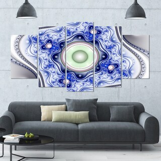 Designart 'Blue on White Pattern with Circles' Abstract Canvas Wall Art - 60x32 5 Panels