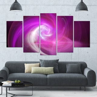 Designart 'Pink Fractal Abstract Illustration' Abstract Canvas Wall Art - 60x32 5 Panels