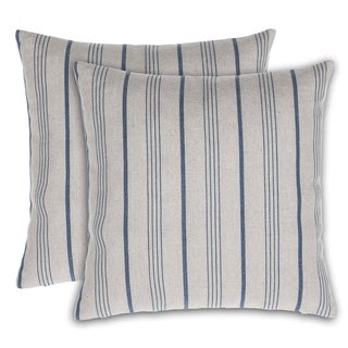 Burlap Stripe Throw Pillow  Cover (Set of 2)