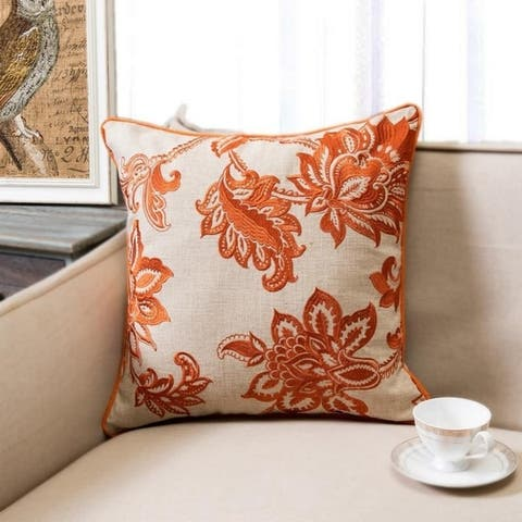 Carson Carrington Ynde Linen Embroidered Floral Throw Pillow