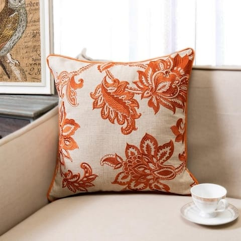 Linen Embroidered French Country Floral Throw Pillow