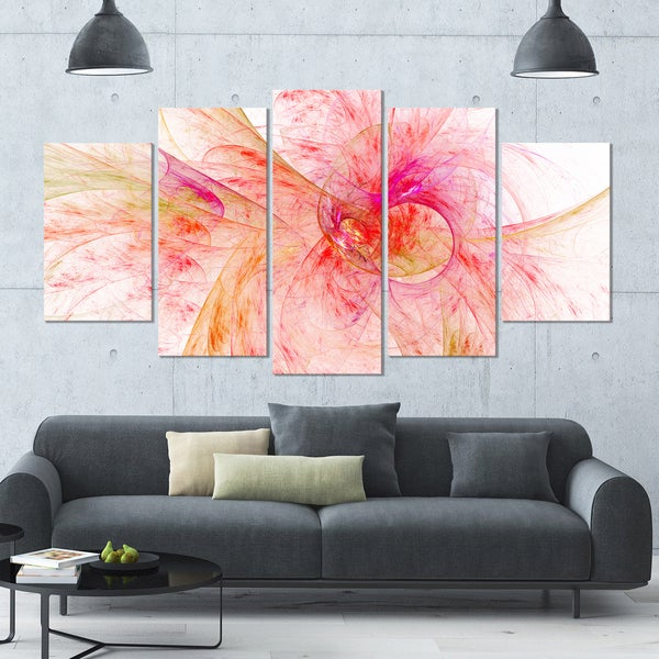 Designart 'Pink Fractal Abstract Illustration' Abstract Wall Artwork - 60x32 5 Panels