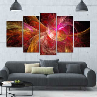 Designart 'Pink on Black Fractal Illustration' Abstract Wall Artwork - 60x32 5 Panels