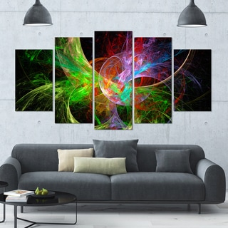 Designart 'Multi-Color Fractal Abstract Design' Large Abstract Canvas Art Print- 60x32 5 Panels