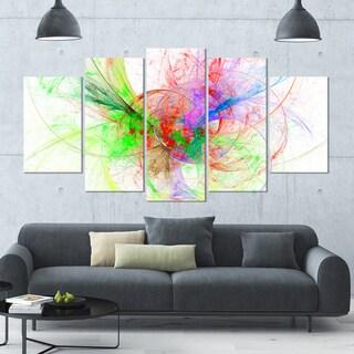 Designart 'Multi-Color on White Fractal Design' Large Abstract Canvas Art Print- 60x32 5 Panels
