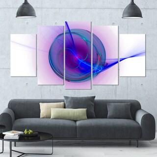 Designart 'Abstract Blue Fractal Design' Large Abstract Canvas Art Print- 60x32 5 Panels