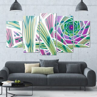 Designart 'Purple Fractal Endless Tunnel' Large Abstract Canvas Art Print- 60x32 5 Panels
