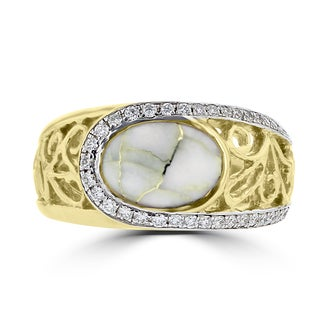 La Vita Vital 14k Yellow Gold, Gold Quartz and 1/3ct TDW White Diamond Ring