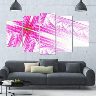 Designart 'Pink Fractal Cross Design' Large Abstract Canvas Art Print- 60x32 5 Panels
