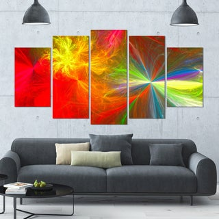 Designart 'Colorful Christmas Spectacular Show' Large Abstract Canvas Art Print- 60x32 5 Panels