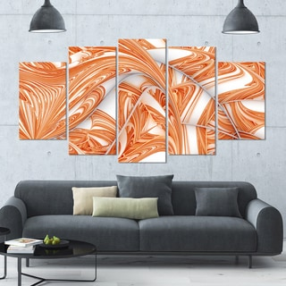 Designart 'Brown Winter Fractal Pattern' Glossy Canvas Art Print - 60x32 5 Panels