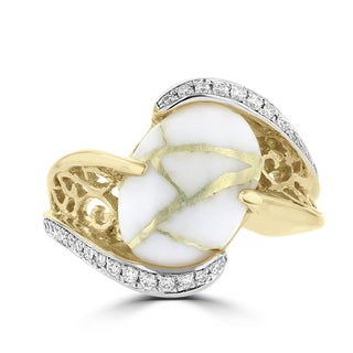 La Vita Vital 14K Yellow Gold, Gold Quartz, Diamond Ring (1/4 ct. TDW)