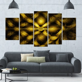 Designart 'Golden Fractal Watercolor Pattern' Glossy Canvas Art Print - 60x32 5 Panels