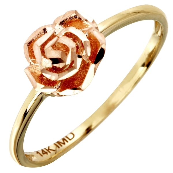 14k Yellow and Rose Gold Rose Flower Ring (Size 7)