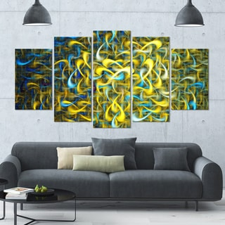 Designart 'Golden Watercolor Fractal Pattern' Glossy Canvas Art Print - 60x32 5 Panels