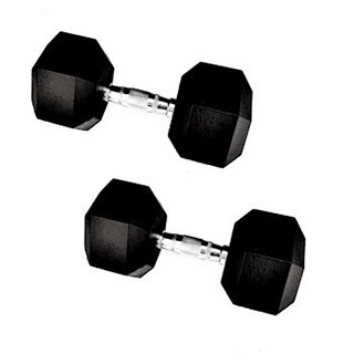 95-pound Rubber Encased Cast Iron Hex Dumbell Pair