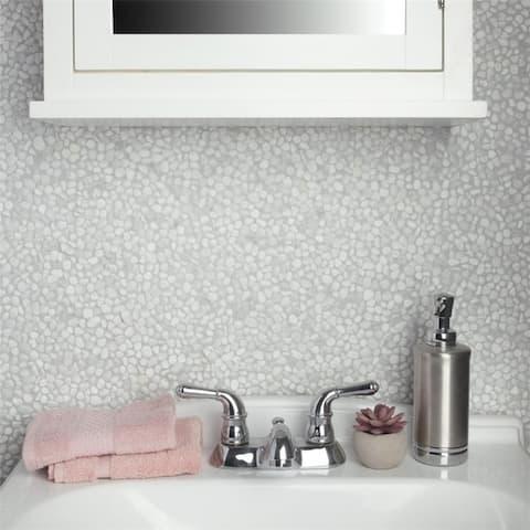 SomerTile 12.25x12.25-inch Pebble White Pebble Stone Mosaic Floor and Wall Tile (10 tiles/10.4 sqft.)