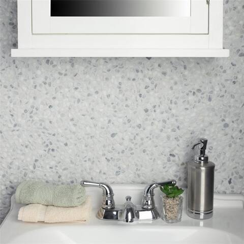 SomerTile 12.25x12.25-inch Pebble White Smoke Pebble Stone Mosaic Floor and Wall Tile (10 tiles/10.4 sqft.)