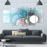 Designart 'Fractal Angel Wings in Light Blue' Multipanel Canvas Art Print - 60x32 5 Panels