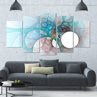 Designart 'Fractal Angel Wings in Light Blue' Multipanel Canvas Art Print - 60x32 5 Panels