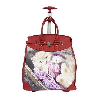 Rollies Kitten Red Synthetic Leather 14-inch Laptop Travel Tote
