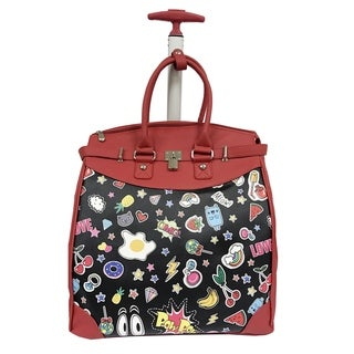 Rollies Pop Art Multicolor Synthetic Leather and Aluminum 14-inch Rolling Laptop Travel Tote