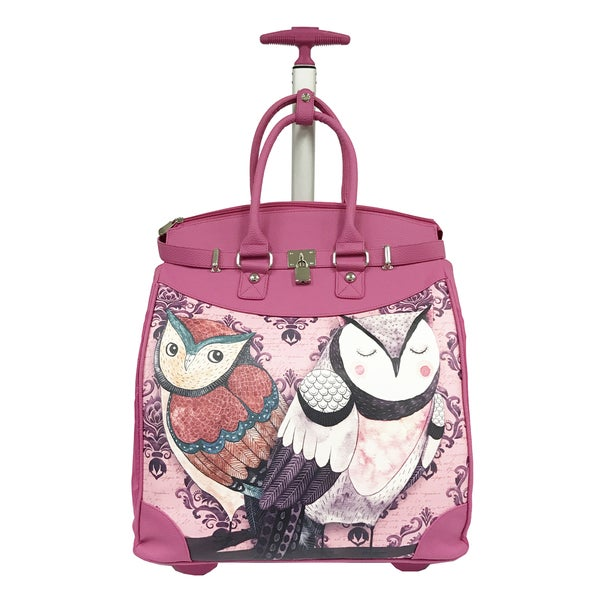 Rollies 2 Owls Rolling Pink 14-inch Laptop Travel Tote