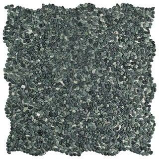 SomerTile 12.25x12.25-inch Pebble Mini Seaweed Green Pebble Stone Mosaic Floor and Wall Tile (10 tiles/10.4 sqft.)