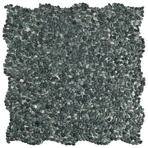 SomerTile 12.25x12.25-inch Pebble Mini Seaweed Green Pebble Stone Mosaic Floor and Wall Tile (10 tiles/10.4 sqft.)